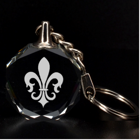 Engraved Fleur De Lys By Rd   3d Engraving Circle Key Chain   Bsepp4o7q9uf   Www Artscow Com Front