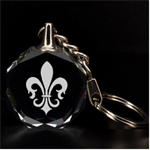 Engraved Fleur-de-lys - 3D Engraving Circle Key Chain