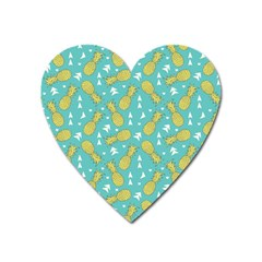 Summer Pineapples Fruit Pattern Heart Magnet