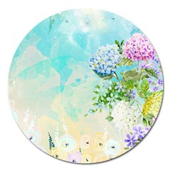 Watercolor Fresh Flowery Background Magnet 5  (round) by TastefulDesigns