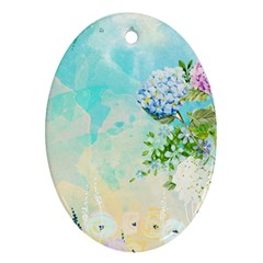 Watercolor Fresh Flowery Background Oval Ornament (two Sides) by TastefulDesigns