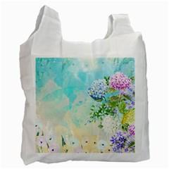 Watercolor Fresh Flowery Background Recycle Bag (One Side) by TastefulDesigns