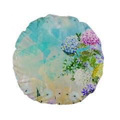 Watercolor Fresh Flowery Background Standard 15  Premium Flano Round Cushions by TastefulDesigns