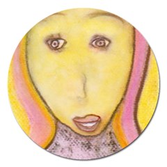 Portrait Of Archangel Michael, Spiritual Chalks Drawing Magnet 5  (round) by yoursparklingshop