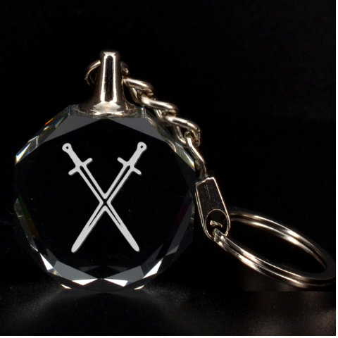 Engraved Crossed Swords Key Chain By Rd   3d Engraving Circle Key Chain   7j2woef0hepg   Www Artscow Com Front