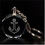 Engraved Anchor Key Chain - 3D Engraving Circle Key Chain
