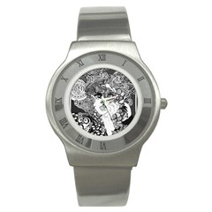 Smoking Woman Stainless Steel Watch (slim) by DryInk