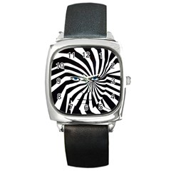 Zebra man Square Square Leather Watch by DryInk