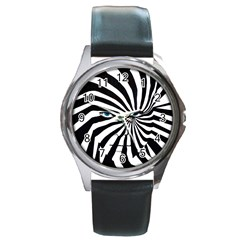 Zebra Face Round Leather Watch (silver Rim)