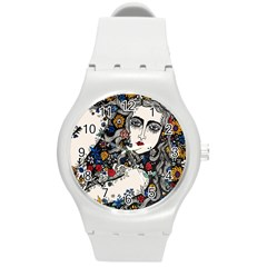Flower woman Plastic Sport Watch (Medium) by DryInk