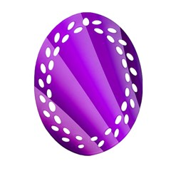 Gentle Folds Of Purple Oval Filigree Ornament (2-Side)  by FunWithFibro