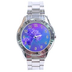 Purple Cornflower Floral  Stainless Steel Analogue Watch by yoursparklingshop