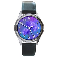 Flowers Cornflower Floral Chic Stylish Purple  Round Metal Watch by yoursparklingshop