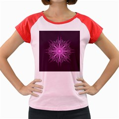 Pink Kaleidoscope Flower Mandala Art Women s Cap Sleeve T-Shirt by yoursparklingshop
