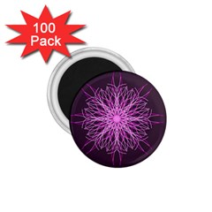 Pink Kaleidoscope Flower Mandala Art 1 75  Magnets (100 Pack)  by yoursparklingshop