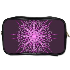 Pink Kaleidoscope Flower Mandala Art Toiletries Bags 2 Side by yoursparklingshop
