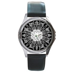Black And White Flower Mandala Art Kaleidoscope Round Metal Watch by yoursparklingshop