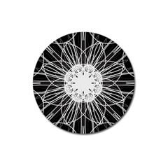 Black And White Flower Mandala Art Kaleidoscope Magnet 3  (round) by yoursparklingshop