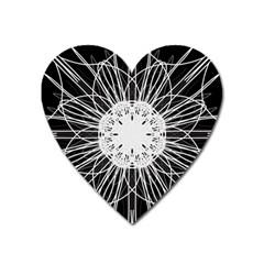 Black And White Flower Mandala Art Kaleidoscope Heart Magnet by yoursparklingshop
