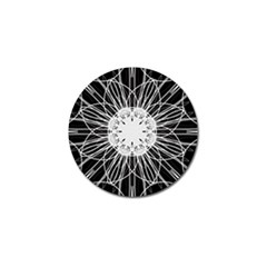 Black And White Flower Mandala Art Kaleidoscope Golf Ball Marker (10 Pack) by yoursparklingshop