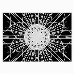 Black And White Flower Mandala Art Kaleidoscope Large Glasses Cloth (2-Side) by yoursparklingshop