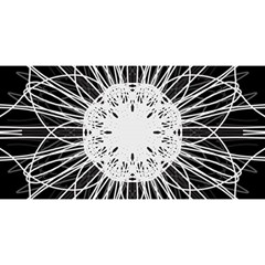 Black And White Flower Mandala Art Kaleidoscope You Are Invited 3d Greeting Card (8x4)