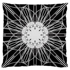 Black And White Flower Mandala Art Kaleidoscope Large Cushion Case (one Side) by yoursparklingshop