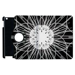 Black And White Flower Mandala Art Kaleidoscope Apple Ipad 2 Flip 360 Case by yoursparklingshop