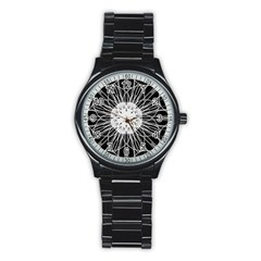 Black And White Flower Mandala Art Kaleidoscope Stainless Steel Round Watch by yoursparklingshop