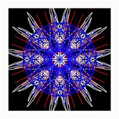 Kaleidoscope Flower Mandala Art Black White Red Blue Medium Glasses Cloth by yoursparklingshop