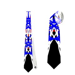 Kaleidoscope Flower Mandala Art Black White Red Blue Neckties (Two Side)  by yoursparklingshop