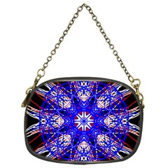 Kaleidoscope Flower Mandala Art Black White Red Blue Chain Purses (two Sides)  by yoursparklingshop