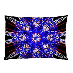 Kaleidoscope Flower Mandala Art Black White Red Blue Pillow Case by yoursparklingshop