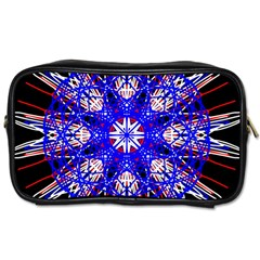 Kaleidoscope Flower Mandala Art Black White Red Blue Toiletries Bags by yoursparklingshop