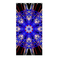 Kaleidoscope Flower Mandala Art Black White Red Blue Shower Curtain 36  X 72  (stall)  by yoursparklingshop