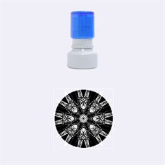 Kaleidoscope Flower Mandala Art Black White Red Blue Rubber Round Stamps (Small) by yoursparklingshop