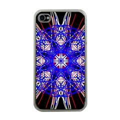 Kaleidoscope Flower Mandala Art Black White Red Blue Apple Iphone 4 Case (clear) by yoursparklingshop