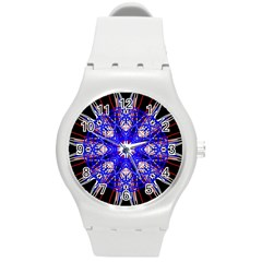 Kaleidoscope Flower Mandala Art Black White Red Blue Round Plastic Sport Watch (m) by yoursparklingshop