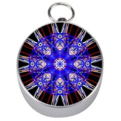 Kaleidoscope Flower Mandala Art Black White Red Blue Silver Compasses by yoursparklingshop