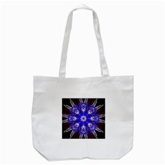 Kaleidoscope Flower Mandala Art Black White Red Blue Tote Bag (white) by yoursparklingshop