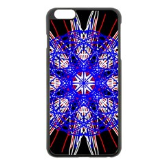 Kaleidoscope Flower Mandala Art Black White Red Blue Apple Iphone 6 Plus/6s Plus Black Enamel Case by yoursparklingshop