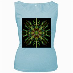 Kaleidoscope Flower Mandala Art Black Yellow Orange Red Women s Baby Blue Tank Top by yoursparklingshop