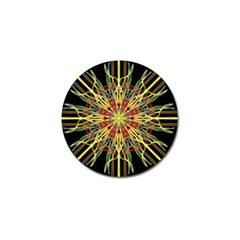 Kaleidoscope Flower Mandala Art Black Yellow Orange Red Golf Ball Marker (4 Pack) by yoursparklingshop