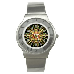 Kaleidoscope Flower Mandala Art Black Yellow Orange Red Stainless Steel Watch by yoursparklingshop