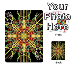Kaleidoscope Flower Mandala Art Black Yellow Orange Red Playing Cards 54 Designs