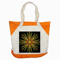 Kaleidoscope Flower Mandala Art Black Yellow Orange Red Accent Tote Bag by yoursparklingshop