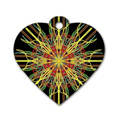 Kaleidoscope Flower Mandala Art Black Yellow Orange Red Dog Tag Heart (two Sides) by yoursparklingshop