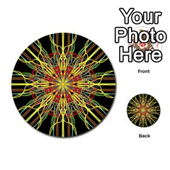 Kaleidoscope Flower Mandala Art Black Yellow Orange Red Multi Purpose Cards (round)  by yoursparklingshop
