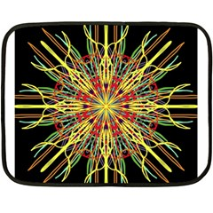 Kaleidoscope Flower Mandala Art Black Yellow Orange Red Double Sided Fleece Blanket (mini)  by yoursparklingshop