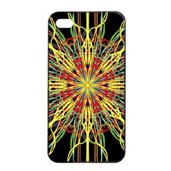 Kaleidoscope Flower Mandala Art Black Yellow Orange Red Apple Iphone 4/4s Seamless Case (black) by yoursparklingshop